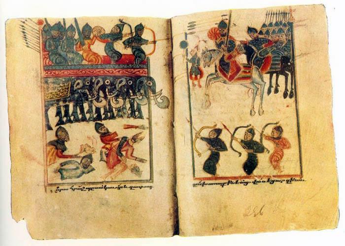 Аварайрская битва, миниатюра XV века