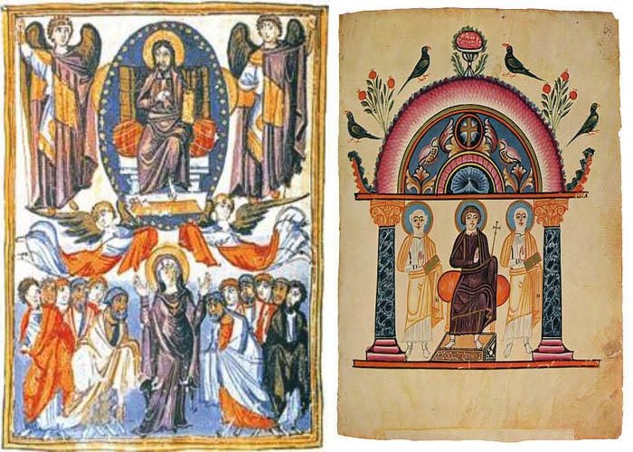 Слева-«Евангелие царицы Млке», IX век Справа-«Эчмиадзинскоe Евангелиe», 989 год