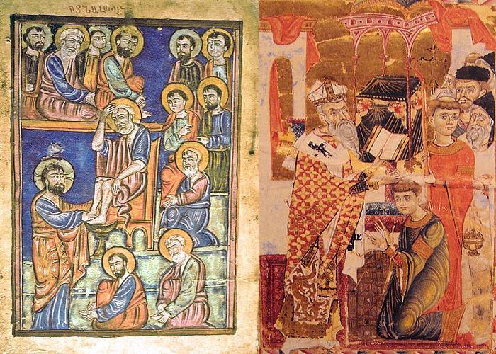 Слева-Госпел 1470 Закаре Справа-Манускрипт, 1287 год
