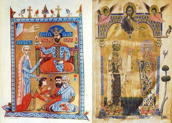 Слева-Миниатюра Саргиса Пицака, 1331 год Справа-Миниатюра Тороса Рослина, 1262 год
