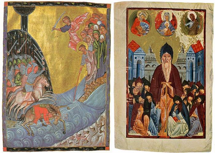 Слева-Миниатюра Тороса Рослина, 1266 год Справа-Портрет Григора Татеваци, 1449 год