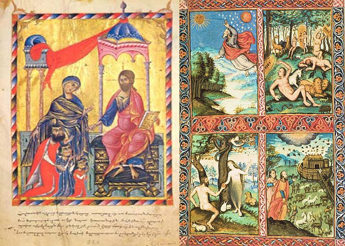 Слева-Миниатюра из Евангелия принца Васака, 1232 год Справа-Миниатюра Казара Бабердци, 1619 год