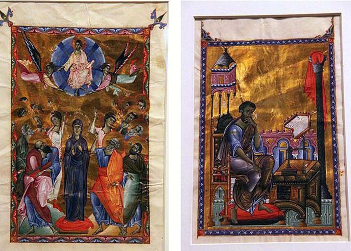 Торос Рослин - Слева Вознесение Христа, справа Евангелист Марк