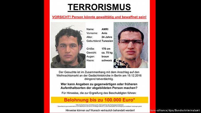 После теракта в Берлине, Федеральная прокуратура попросила население о помощи в деле поимки подозреваемого из Туниса Аниса А.