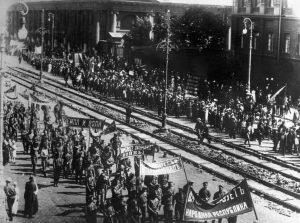 Антивоенная демонстрация в Москве, 1917 год. TASS / AFP
