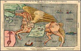 Необычная карта Азии в форме Пегаса