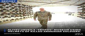 Алиев открыл музей «Трофеев» из шлемов убитых армянских солдат