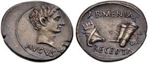 Armenia Recepta - Надпись на римском динарии Октавиана Августа